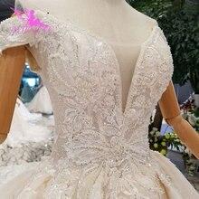 AIJINGYU vestido de novia gris con lentejuelas brillantes para mujer, traje de novia de encaje con cola de pavo, 3Xl