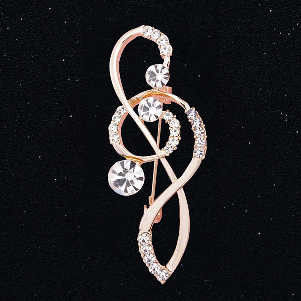 Donne calde Del Rhinestone Spilla Musica Nota Sciarpa Oro Rosa chiave di Violino Spille spille Gioielli per le donne Spille s in metallo regali per le donne