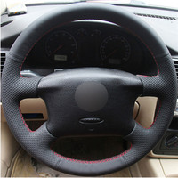 Top Leather Steering Wheel Hand stitch on Wrap Cover For VolksWagen Passat B5 Golf 4 Skoda Octavia 1999 2005