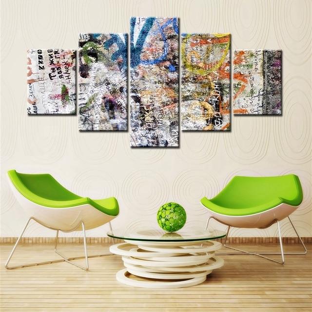 Street graffiti colorful art painting print canvas fashion wall art bedroom decor 5 pieces hd print