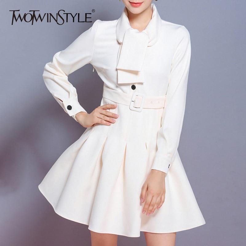 Twotwinstyle 투투 드레스 가을 여성 레이스 긴 소매 속옷 높은 허리 draped 미디 드레스 여성 패션 빈티지 의류-에서드레스부터 여성 의류 의  그룹 1