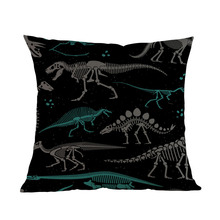 Cartoon Prehistory Jurassic Pattern Of Skeletons Of Dinosaurs And Fossils Pillow Case Home Decoration Cushion Cover