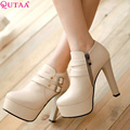 QUTAA Western Style Women's Square High Heels Ankle Boots Solid Round Toe Rivet Winter Boots Wedding Shoes Size 34-43