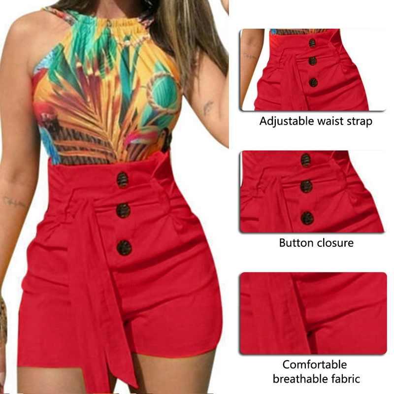 Damskie modne spodenki z wysokim guzikiem letnie dorywczo kobiece Stretch gorąca, seksowna krótka spodnie z paskiem Plus rozmiar krótki feminino