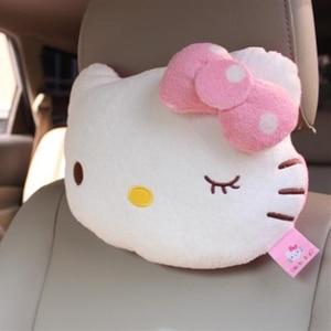 Image 4 - 2 sztuk różowy Hello Kitty poduszka do auta dziecko zagłówek samochodowy poduszka pod kark Cartoon pluszowe dzieci dziecko zagłówek samochodowy poduszka do fotela samochodowego akcesoria