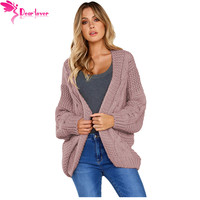 Dear Lover Winter Coat Women Sweaters Autumn Pink Chunky Wide Long Sleeve Loose Knit Cardigan Outwear Tops Casual Jumper LC27948
