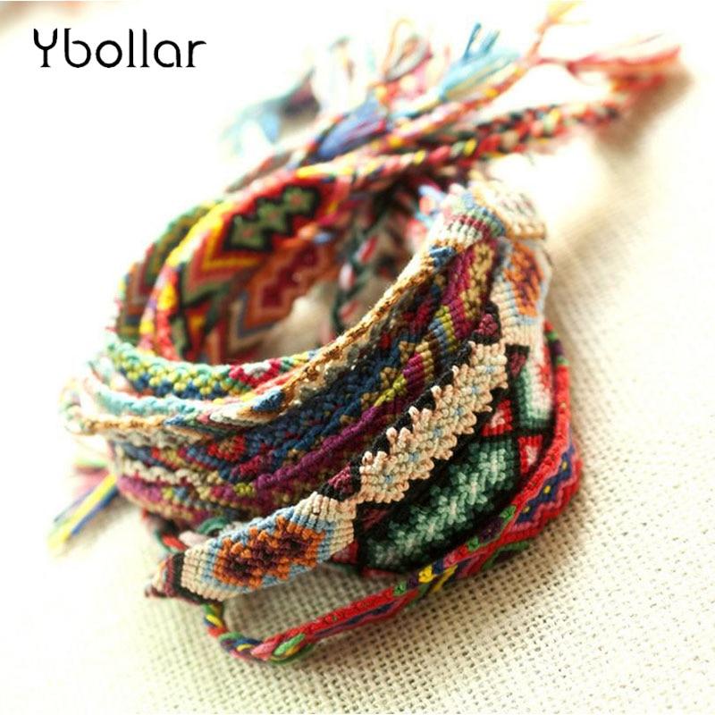 10Pcs Rainbow Friendship Boho Bracelets Handmade Woven Rope String Hippy Jewelry
