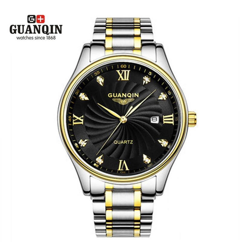 Big Dial GUANQIN Watch Men Luxury Famous Brand Watches 30 m Waterproof Luxury Watches Fashion Casual Stainless Steel Men Clock epozz brand new quartz watch for men big dial waterproof stainless steel watches classic casual top fashion luxury clock 1602
