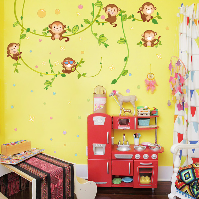 Happy Monkey Wall Decal Sticker Home/Store Decor DIY Removable Art ...