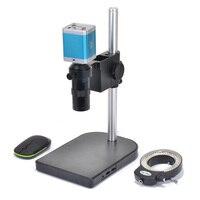 1080 P VGA Full HD промышленный микроскоп камера SD видео рекордер + стерео настольная подставка + 100X C-MOUNT объектив + 144 светодиодный свет
