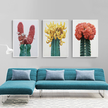Abstract Flower and Cactus Wall Art Canvas Painting Nordic Poster Colorful Desert Plant Pictures For Living Room Unframed