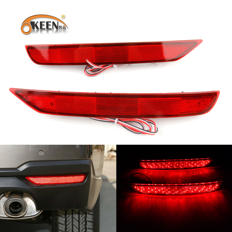 OKEEN 2PCS car styling For Subaru Forester 2009 2016 LED Red lens Rear Bumper Reflector Brake Light Lamp Tail Rear fog light 12V