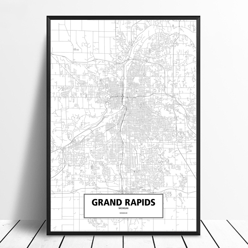 Grand Rapids Michigan United States Black White Custom World City Map Poster Canvas Print Nordic Style Wall Art Home Decor Painting Calligraphy Aliexpress