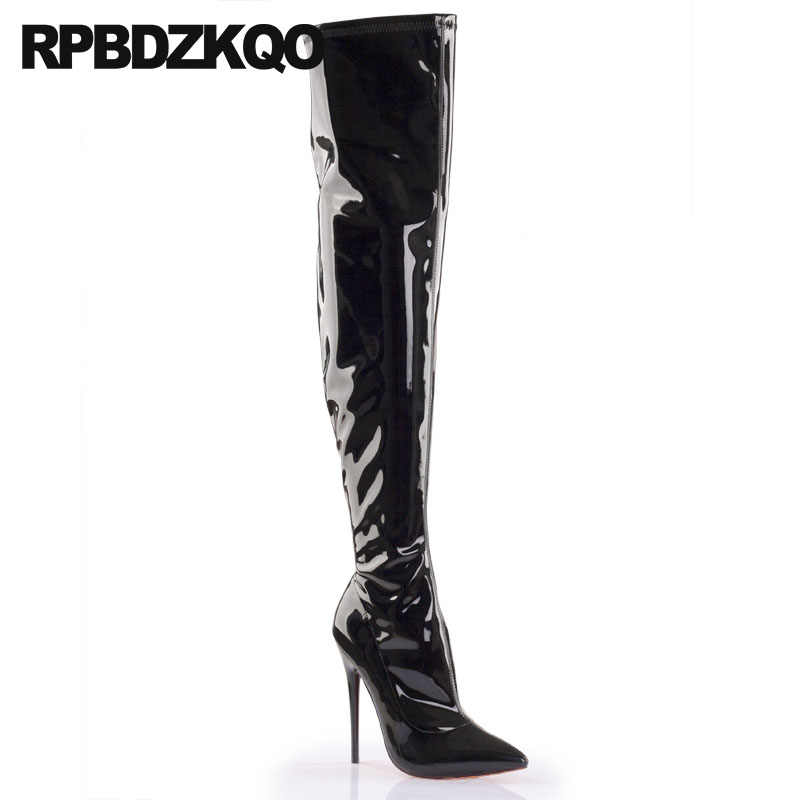 a7911b8a7ce ... Stretch High Heel 12 44 Patent Leather Shoes Fetish 14cm Over The Knee  Stiletto Thigh Boots