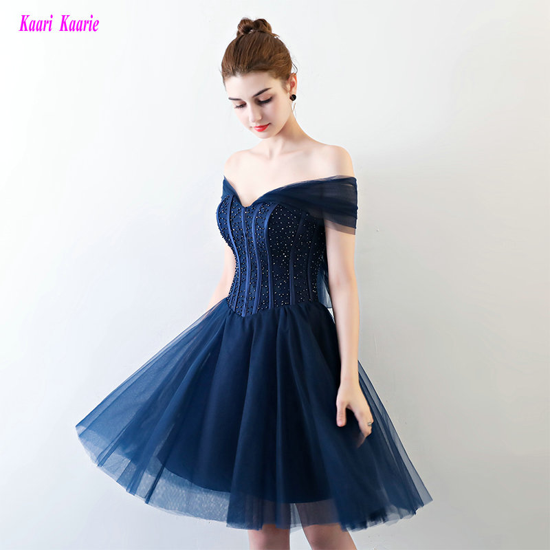 Fashion Dark Navy   Cocktail     Dresses   2019 Sexy Sweetheart Tulle Beading Formal Prom Gowns Short   Cocktail   Party   Dress   Real Photos