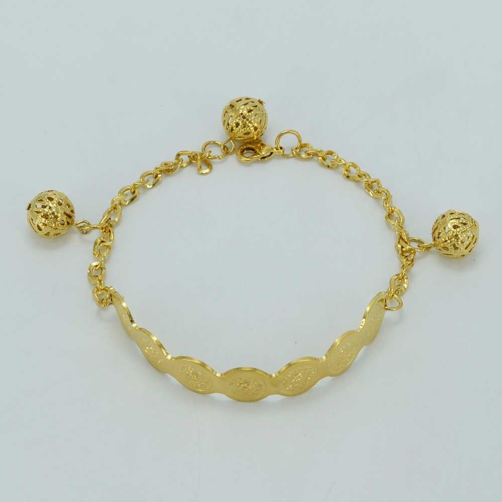 Anniyo 20 Cm + 4 Cm, Metalen Munt Armband Voor Vrouwen Goud Kleur Kraal En Coin Armbanden, arabische Hand Ketting Sieraden #027606