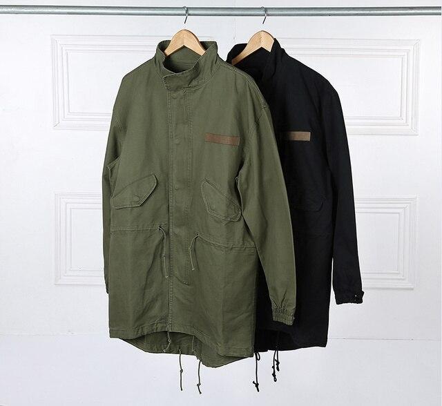 2017 Fashion  Korean Hot Sale Men's Japan Jacket Overcoat Kanye West Black/Green Long Military Style European Trench Coat Men