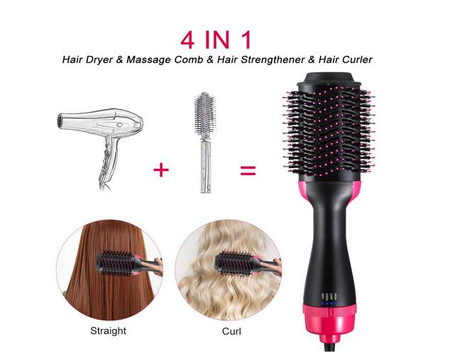 4 In 1 Multifunctional Hair Dryer & Volumizer Rotating Hair Brush Roller Rotate Styler Comb Styling Straightening Curling Iron
