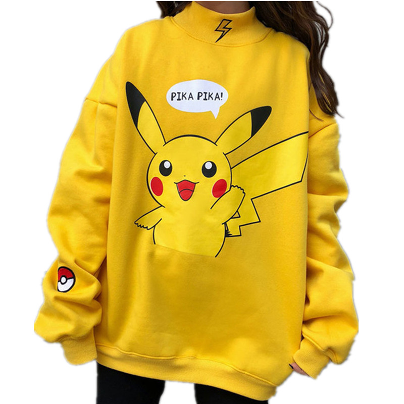 2020 Spring Women Hoodies Turtleneck Pikachu Print Sweatshirts Harajuku Fashion Kawaii Tops Cartoon Pokemon Couples Pullovers