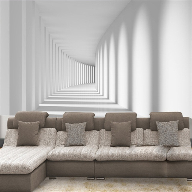 Custom White Passage Corridor Photo Wallpaper For Living Room Sofa Spatial Extension Personality Wall Mural