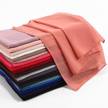 Wholesale 10pc Glitter Muslim Hijabs Scarf Shimmer Bubble Chiffon Shawl Summer Islamic Women Plain Headscarf Head cover Wrap