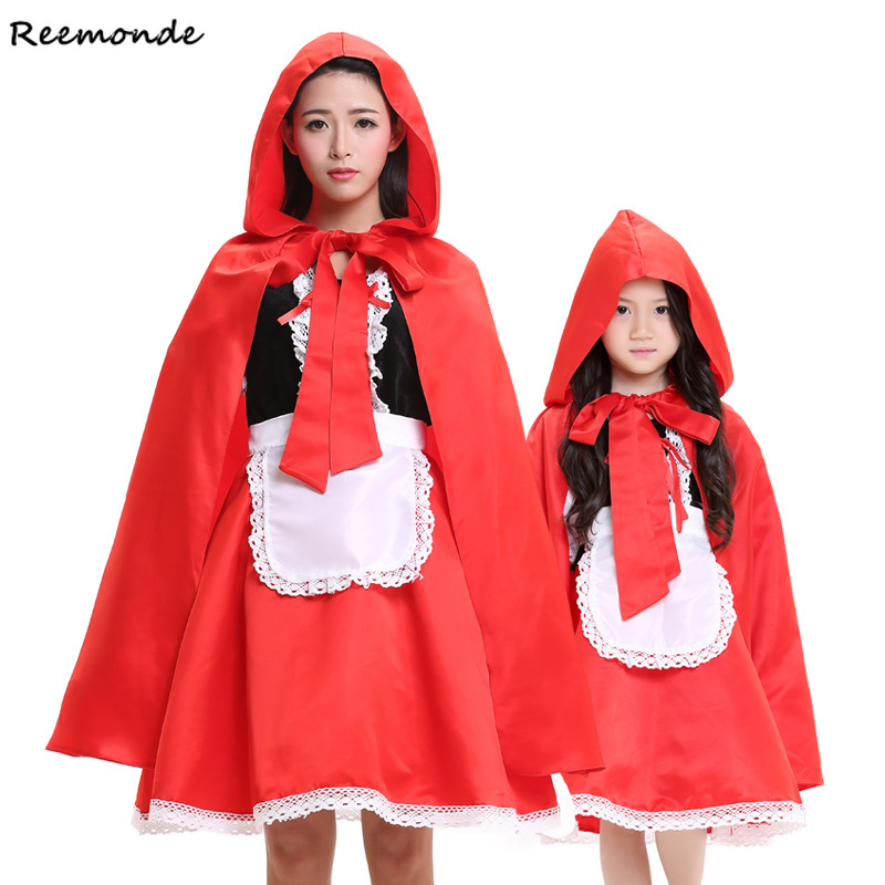 Fairy Tales Little Red Riding Hood Cosplay Costumes Red Cap Cloak Apron Dresses For Adult Women Kids Halloween Party Clothing