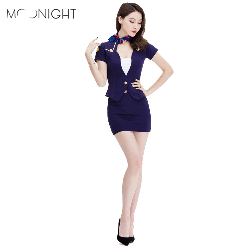 MOONIGHT 2 Colors Sexy Cosplay Uniform Erotic Airline Stewardess Costume Halloween Top with Skirt Neckwear Cosplay Costu