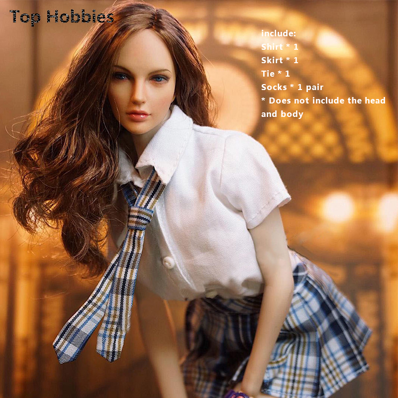 1/6th Female Student England Uniform Shirt Tie Pleated Mini Skirt Clothing Suit Fit 12''Girl Phicen TOYS Doll Action Figure 1 6 scale phicen figure accessory black school uniform set students suit clothes fit 12 action figure doll toys zytoys zy15 30