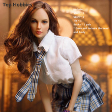 "1/6th Female Student England Uniform Shirt Tie Pleated Mini Skirt Clothing Suit Fit 12""Girl Phicen TOYS Doll Action Figure"