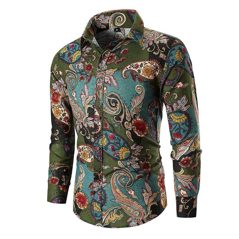 빈티지 페이즐리 프린트 하와이 셔츠 남성 2020 가을 신품 긴 소매 망 드레스 셔츠 웨딩 파티 댄스 파티 셔츠 Chemise Homme