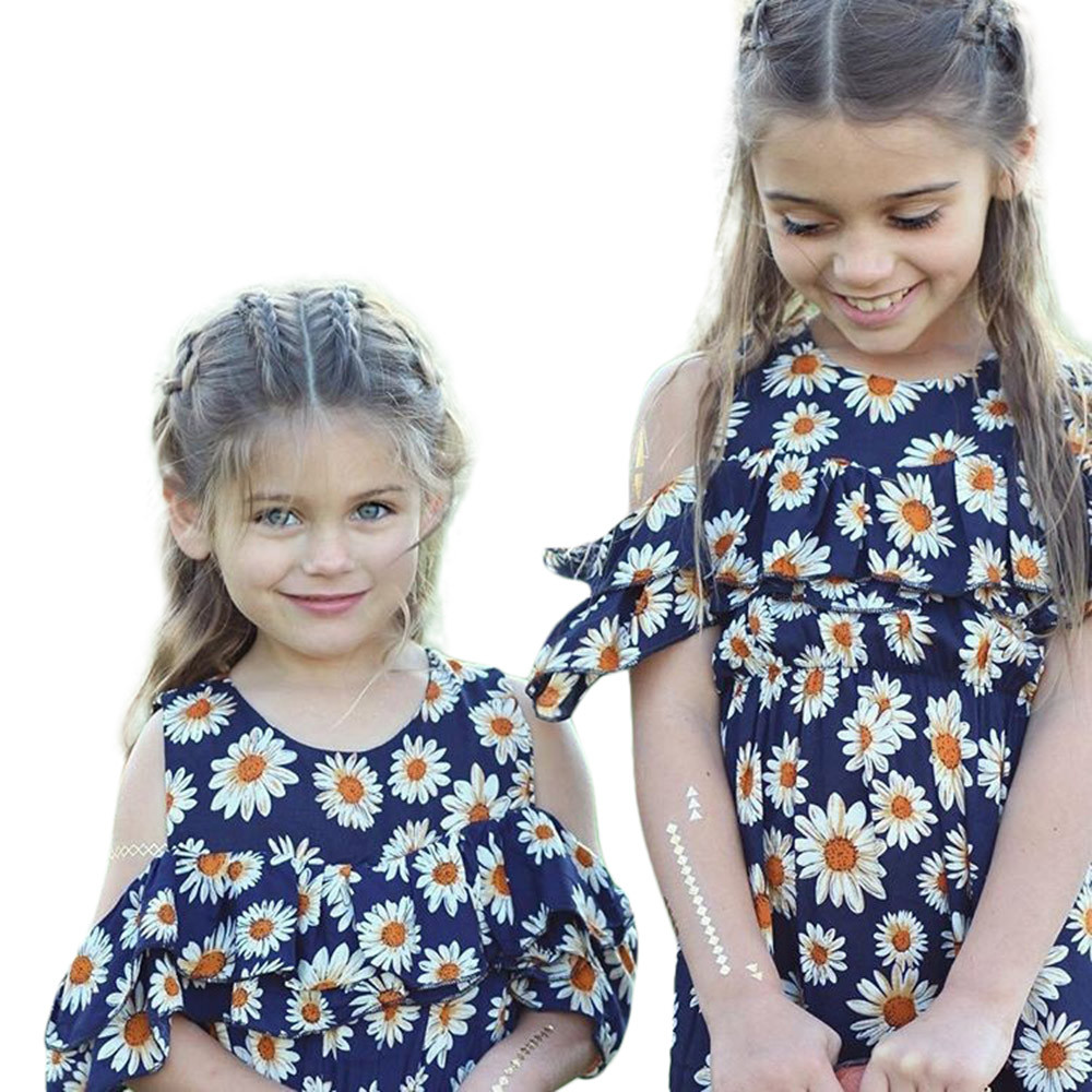 Blue Color Hot Cute Kids Baby Girls Flower Print Fold Sleevesless Princess Dresses Outfits High Quality Dropshipping AG30 12