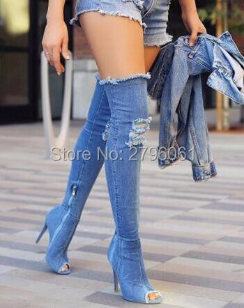 2017 Runway denim blue over the knee boots sexy open toe high heel boots woman thigh high boots thin heels jeans boots shoes new 2018 spring fashion ripped jeans boots sexy pointed toe distress denim high heel boots over the knee woman boots