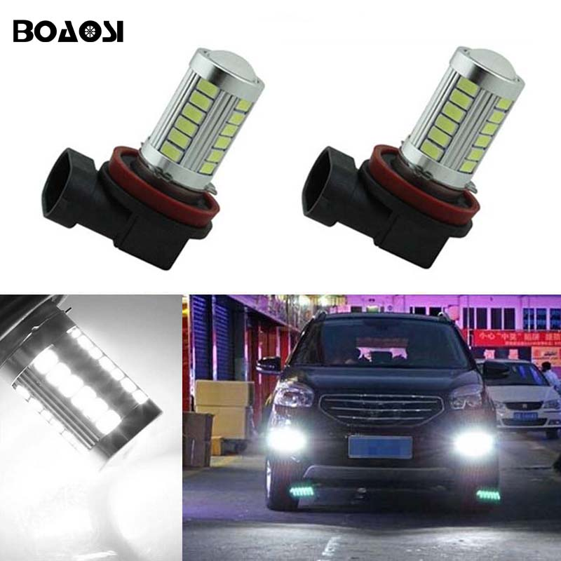 BOAOSI 2x H11 LED canbus 5630SMD Bulbs Reflector Mirror Design For Fog Lights For Renault Megane Fluence Koleos Latitude boaosi 1x 9006 hb4 car canbus bulbs reflector mirror design fog lights no error for vw golf 6 mk6 scirocco t5 transporter