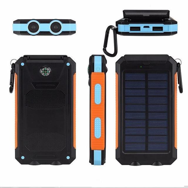 Nuevo banco de la energía 12000 mah solar portátil brújula a prueba de agua al aire libre universal de carga de la batería externa con luz led para iphone