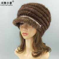 Mink's ear cap lady hat 2018 winter knitted wool fabric for Russia's stretch fit for most casual thick hats