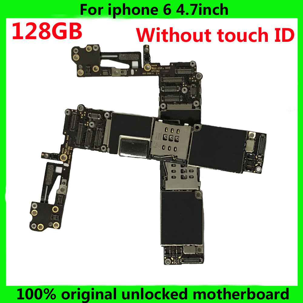 Full function motherboard for iphone 6 128GB 100% original mainboard without fingerprint with chips logic board free iCloud