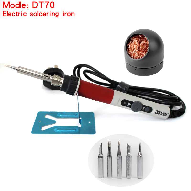 DT70 Electrical Soldering Iron 220V 70W High Power Solder Welding Pen with 5 psc Iron Tips, Home Thermostat Electronic Repair