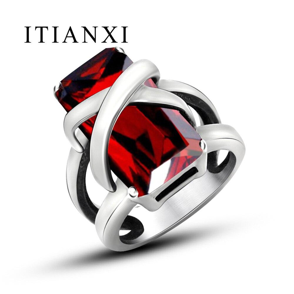 Itianxi男性シルバーカラーステンレス鋼リング用男性キュービックジルコニアcz赤い石の結婚式や婚約リング決してフェード