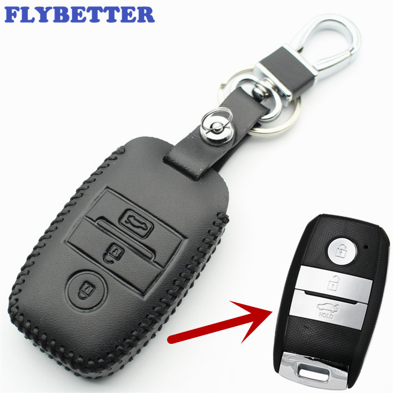 FLYBETTER Genuine Leather Smart Key Case Cover For Kia KX3/KX5/K3S/RIO/Ceed/Cerato/Optima/K5/Sportage/Sorento Car Styling L72 flybetter genuine leather smart key case cover for kia kx3 kx5 k3s rio ceed cerato optima k5 sportage sorento car styling l72