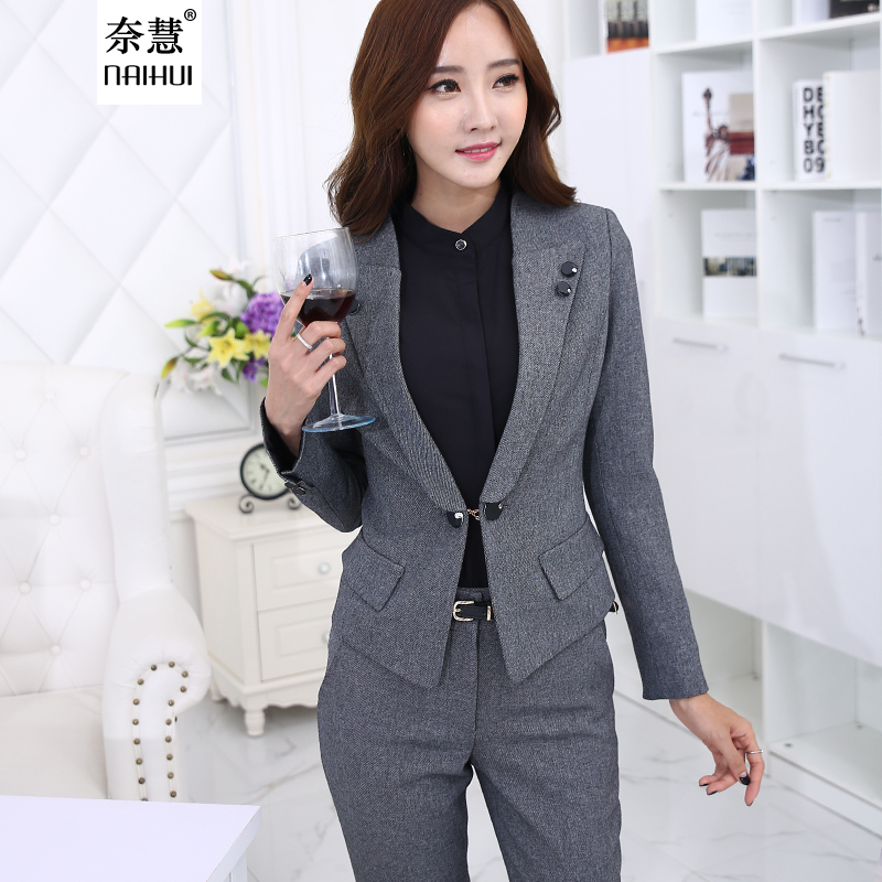 2016 autumn women business suits formal office pants suits for Office uniform design 2016