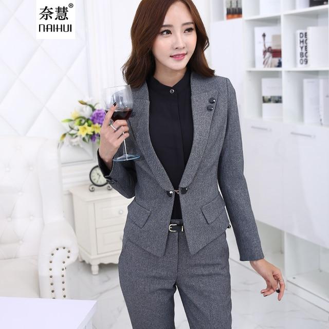 090eabd6625 2016 Autumn Women Business Suits Formal Office pants Suits Work wear 2  Piece Set One Button