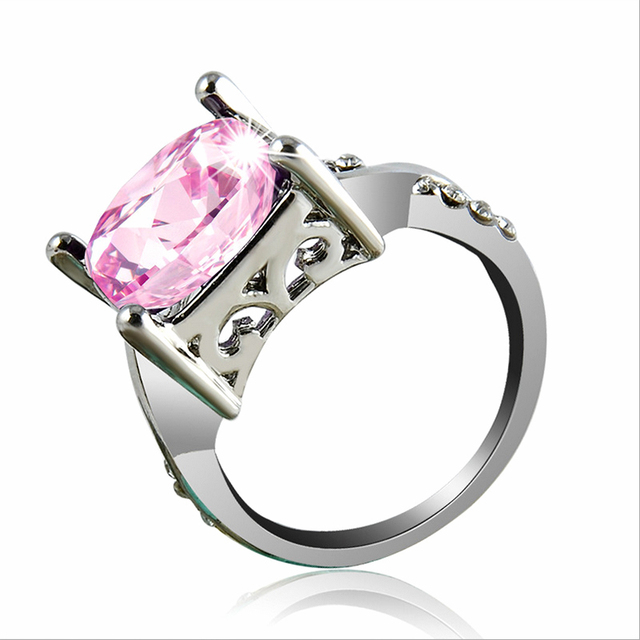 Hot 1pc New Silver Ring Purple Large Zircon Square Plated Crystal Engagement Wedding 3 Size 2 color 1