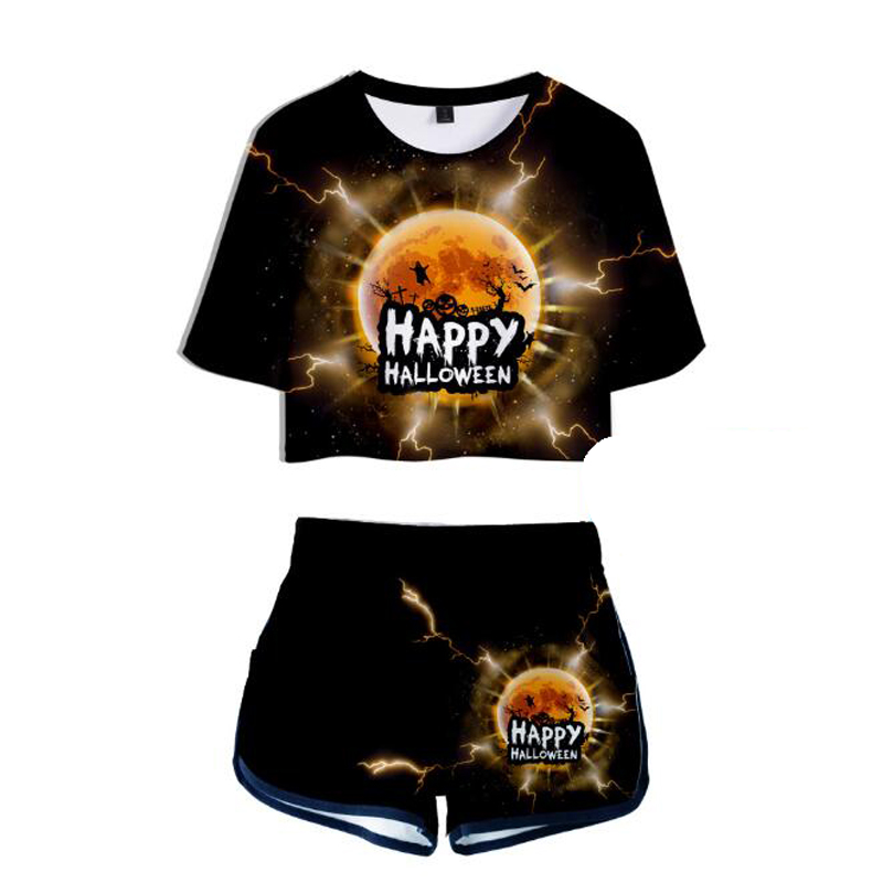 Funny Halloween 3D Print Women Suit Two Piece Set Summer Short Sleeve Crop Top Sexy Casual Sporting Suit Shorts Pants Tracksuit