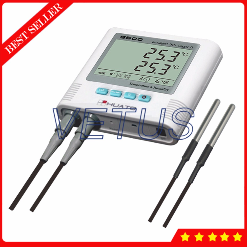 S500-DT 2 Sensor Double Channel Digital datalogger Temperature Recorder with LCD display Monitor Temperature Data Logger s500 et gsm usb gsm temperature data logger datalogger with 0 5c accuracy 6 5000 record capacity 3 meters cable external sensor