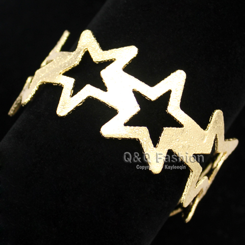 Blogger Fav Gold Cut Out Open Big Shooting Stars Wide Bracelet Bangle Cuff Top Jewelry Dropshipping New