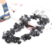 Wholesale Black Pearl Necklace Choker Elegant Strand Layered Femme Black Metal Button Crystal Wedding Necklace Jewelry for Women
