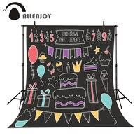 Festa di compleanno Fotografia di Sfondo A Mano Torta Regalo Lavagna disegnata A Mano Lavagna Celebrazione Allenjoy foto sfondi