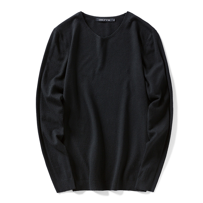 Mens Black Sweater 2017 Mens Pullover Sweaters Simple Style Solid Color Cotton O-neck Sweater New Autumn Slim Thin Male Knitwear