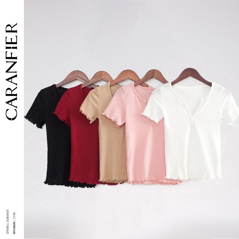 CARANFIER Knitted Deep V-Neck Ruffles Crop Tops for Women Harajuku 5 Colors Slim High Waist Short Sleeves Summer tshirt Vintage