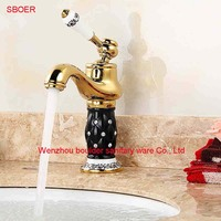 New Wholesale And Retail Brass Crystal Gold And Black Bathroom Faucets Luxury Ceramic Mixer Tap To